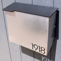Custom House Number Mailbox No. 1711 Modernist Wrap-front Stainless Edition