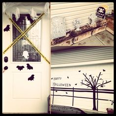 Halloween 2013 garage door made with duct tape, don't use duct tape, it doesn't come off easy. Cloth tape is better
