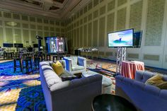 Add soft seating focused around the key aspects of the event to engage guests! Las Vegas Events, Event Management Company, Soft Seating, Corporate Events, Vr, Event Decor, Event Design, Event Planning, Furniture