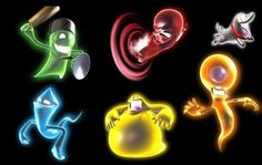 Ghosts from Luigi's Mansion: Dark Moon- Greenie, Slammer, Polterpup, Hider, Gobber, and Poltergeist.