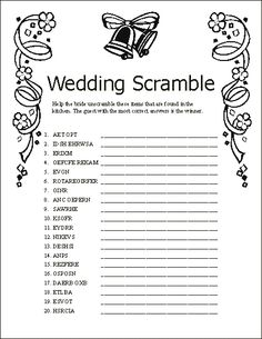 bridal shower games free to print | wedding scramble help the bride unscramble these items that are found ...