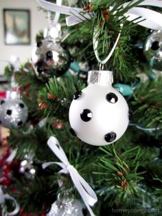 DIY Rhinestone Polka Dot Ornaments | Homey Oh My!