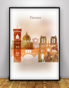 Florence Cityscape Print, Italy Skyline Vertical Poster, Wall art, Italy…