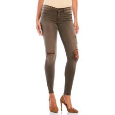 Flying Monkey Distressed Skinny Jeans ($60) ❤ liked on Polyvore featuring jeans, green, skinny leg jeans, denim skinny jeans, distressed jeans, super skinny jeans and ripped jeans