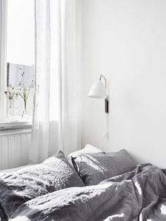 Grey + White = Bedroom Bliss.