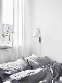 Grey + White = Bedroom Bliss.