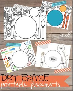 Dry Erase Printable Placemats: these are great! I love the plain one. I remember having something like this when I was younger.