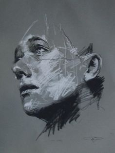 thick charcoal face sketch abstract - Google Search