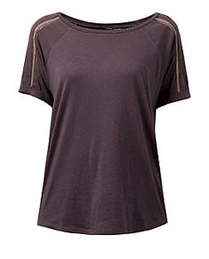 Purple Beaded Trim Roll Sleeve T-Shirt  | New Look