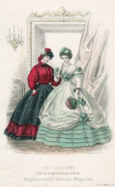 December 1861 fashions designed for Englishwoman's Domestic Magazine; 1-skirt & blouse; 1 evening dress.