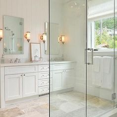 White Dual Washstand with Frameless Mirrors
