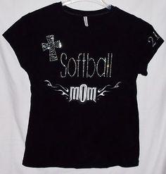 RHINESTONE NEW SOFTBALL MOM T-SHIRT BLACK SIZE JUNIORS 2XL Tee Shirt Baseball
