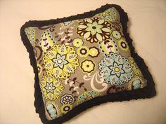 Cute, comfortable, gray, sky blue, lime green, home decor pillow