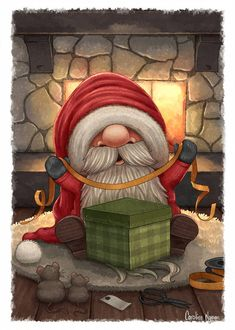 Little Santa wrapping a gift by Ploopie on DeviantArt – Animation ideas Christmas Gnome, Christmas Scenes, Christmas Art, Winter Christmas, Vintage Christmas, Christmas Ornaments, Christmas Drawing, Christmas Paintings, Christmas Picture Background