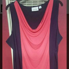 Sleeveless blouse Navy and coral colorblock blouse Rarely worn Avenue Tops Blouses