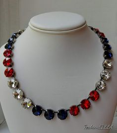 of july necklace,multicolor rhinestone necklace,independence day jewelry,American flag necklace,red white and blue necklace Bling Jewelry, Bridal Jewelry, 4th Of July Celebration, Blue Necklace, Rhinestone Necklace, Clear Crystal, Fashion Necklace, American Flag, Handmade Jewellery