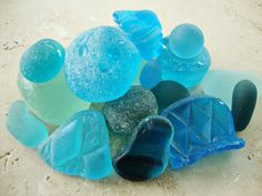 Turquoise & Aqua sea glass that just hangs out in the reefs in shallow water of the South Pacific, Dominican Republic & Caribbean.  I must go there to see this!