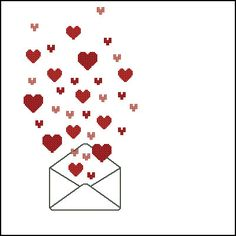 Hearts in the envelope cross stitch pattern by LaMariaCha on Etsy, $3.50