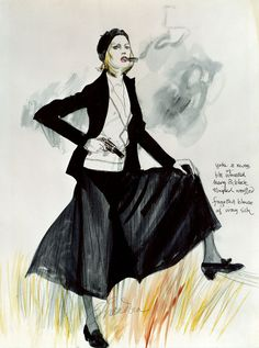 """COSTUME SKETCH: """"Bonnie & Clyde"""" (1967) One of the most influential outfits in movie history was worn by Faye Dunaway in the classic """"Bonnie and Clyde"""" (which turns 45 this year).  Here is how designer Theodora Van Runkle originally created it on the page before a single stitch was sewn."""