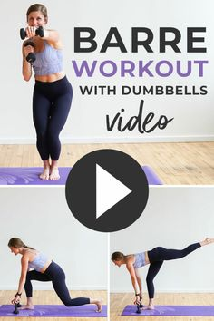 Sweat + sculpt with this free Barre Fitness Workout video! It combines the stabilizing power of Barre with strength training and HIIT cardio intervals. High intensive interval training(hiit), cardio training at home 30 Minute Workout Video, Arm Workout Videos, Barre Workout Video, Cardio Barre, Band Workout, Dumbbell Workout, Workout Tips, Workout Plans, Home Barre Workout