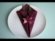 Servietten falten: spitze Bestecktasche napkin folding pocket