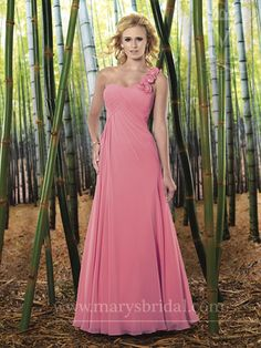 Surround your wedding ceremony with beauties, courtesy of the Marys Bridal M1924 bridesmaid dress which aims to capture the hearts of your girls and the rest of the guests. The empire silhouette decks out a sweetheart neckline with one-shoulder strap...