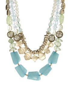 Look what I found on #zulily! Brass & Blue Tier Necklace #zulilyfinds