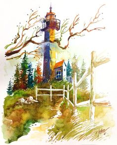 Gurnet lighthouse, Massachusetts ~ by Tilen Ti, watercolor