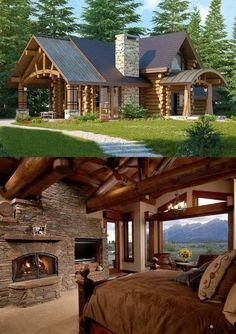 34 Inspiring Wooden House Design Ideas For Interior And Exterior Design Wooden House Design, Wooden Houses, Small Wooden House, Barn Houses, Log Cabin Homes, Log Cabins, Small Log Cabin, Cabins And Cottages, Stone Houses