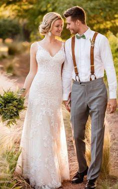 D2387 Sexy Lace Boho Wedding Dress by Essense of Australia