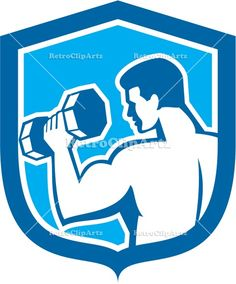artwork, crest, dumbbell, exercise, fitness, graphics, illustration, isolated, lifting, man, retro, shield, training, weight