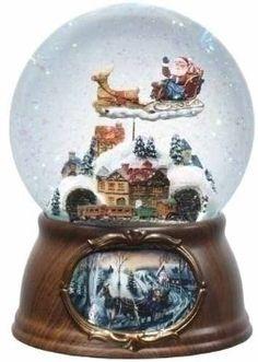 "Amazon.com: 6.5"" Musical Rotating Santa Claus with Train Christmas Snow Globe Glitterdome: Home & Kitchen"