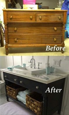 creative and easy diy home decor furniture hacks ideas 52 Refurbished Furniture, Repurposed Furniture, Shabby Chic Furniture, Furniture Makeover, Rustic Furniture, Chair Makeover, Recycled Dresser, Antique Furniture Restoration, Upcycled Furniture Before And After