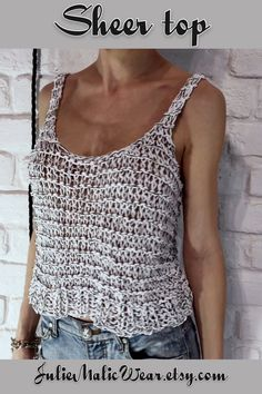 ✔ Gift Videos For Women Trendy Böhmisches Outfit, White Sheer Top, Knitted Tank Top, Crochet Tank Tops, Crochet Summer Tops, Summer Knitting, Crochet Patterns For Beginners, Country Outfits, Top Pattern