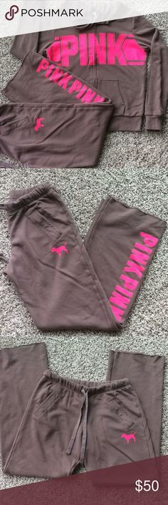 ⭐️ PINK Fleece Set ⭐️ Sold as a set. Mauve colored fleece. Pants are boyfriend fit. Pockets and adjustable waist tie, fluorescent Pink logo down the front of left leg. 32 inch inseam with raw hem. Hoodie has pockets and fluorescent pink Pink logo across the chest. Pants are a size XS and fit sizes XS-M. Jacket is size S. Great condition. PINK Victoria's Secret Other