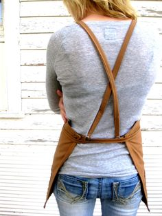 Rustic Full Cross Strapped Workshop Studio Kitchen Apron for Men or Women in The Hobbyist. $24.50, via Etsy.