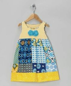 Take a look at this Blue & Yellow Patchwork Dress - Toddler & Girls by… Baby Outfits, Outfits Niños, Kids Outfits, Toddler Girl Dresses, Toddler Outfits, Toddler Girls, Sewing Kids Clothes, Baby Sewing, Fashion Kids