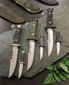 Muela knives, kangaroo knife, 7120-p, 7122-p, 7121-p. Bowie with kangaroo sheath