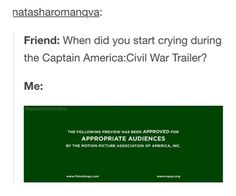 True. Except I have this weird problem where I can't cry in any trailer or at any fan fiction but technically I was sobbing in my head.