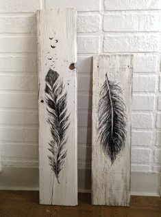 Decor Crafts, Wood Crafts, Fun Crafts, Wood Pallet Art, Wood Art, Feather Painting, Painting On Wood, Words On Wood, Tree Stencil