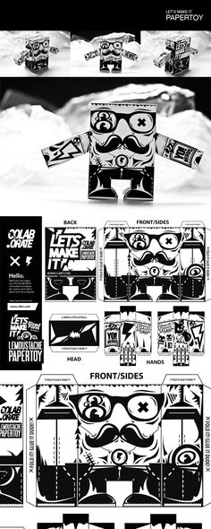 LE'MOUSTACHE | Paper Toy by Grzegorz Rauch, via Behance