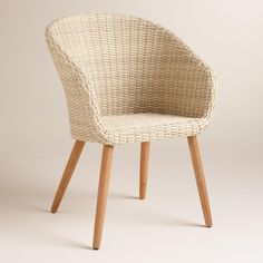 Casual, comfortable and distinctly mid-century in style, our classic tub chairs feature natural colored weather-resistant resin wicker on a lightweight aluminum frame and splayed acacia wood legs.