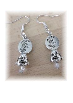 boucles d'oreilles bouddha et perle bambou de la boutique inspirationsofycrea sur Etsy