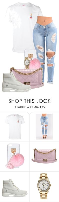 """""""Coco"""" by queenofslay ❤ liked on Polyvore featuring Joyrich, Ashlyn'd, Chanel, Timberland and Rolex"""