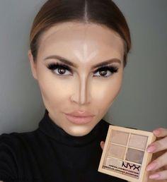 Perfect contour and highlight with NYX Contour kit. #makeup #nyx #contour