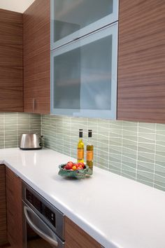Waveline Glass Kitchen - modern - kitchen - other metro - Island Stone