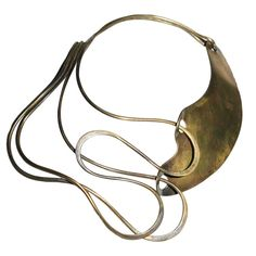 "Necklace |  Art Smith ""Half & Half"".  circa 1940's.  This is the Patinated brass version, as he also made the same piece using only using sterling silver"