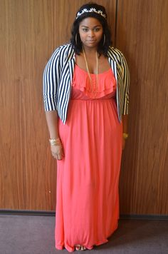 I like the color mixed with the black and white stripes, plus maxi dress.-TMC~~Elann - Full Figured Fashion Week in NYC™