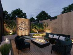 Modern Outdoor Wall Art, Outdoor Walls, Modern Outdoor Kitchen, Privacy Wall Outdoor, Modern Gazebo, Modern Courtyard, Modern Deck, Front Courtyard, Outdoor Rooms