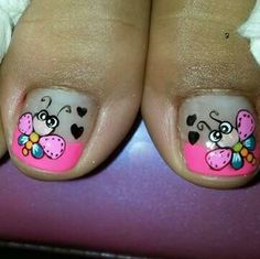 Vɨʋɨaռa                                                       … Pedicure Nail Art, Toe Nail Art, Manicure, Feet Nails, My Nails, Cruise Nails, Funky Nail Art, Animal Nail Art, Nails For Kids